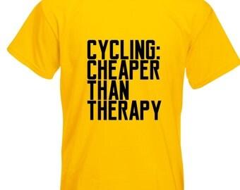 Mens Cycling: Cheaper Than Therapy T-Shirt / Mens Bike Cycle T Shirt