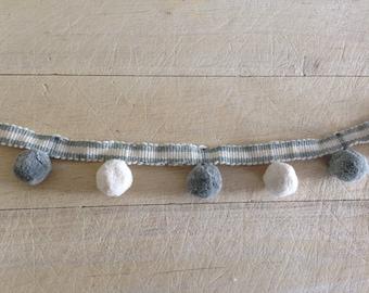 Grey and Ivory pom pom trim 100% cotton