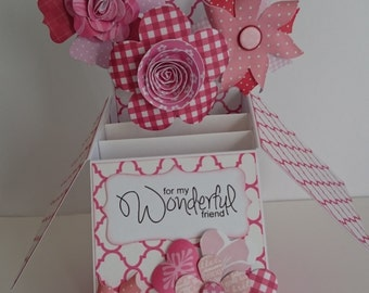 Pink Floral Handmade Pop-up Box Card