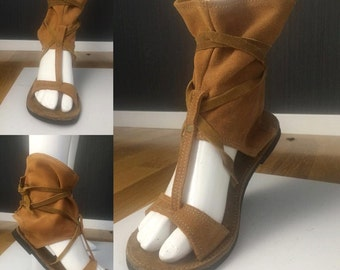 Leathershoe/Flat sandal, soulspirit,  camel, hippie shoe, suede, festival clothes, hippie style, bohemian, trance wear, hippie shoe, boho,
