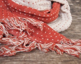 Linen Scarf, Eco Scarf, Red, White Scarf, Scarf