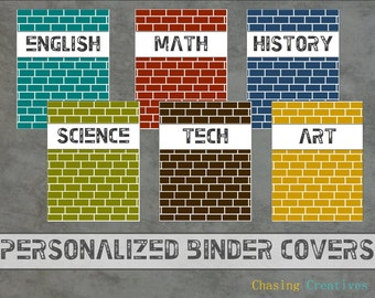 Personalized Brick Binder Covers - Notebook Covers - Custom Printable