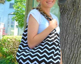 Reversible Hobo Bag; Chevron Hobo Bag; Slouchy Handbag Purse; Sling Bag; Diaper Bag