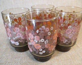Vintage Libbey Brown Daisy Glasses, Drinking Glasses, Tumblers - Set of 4