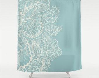 Shower Curtain Light Blue Light Teal Cream Off White Henna Mehndi Design  Pattern Home Bath Room Home Decor