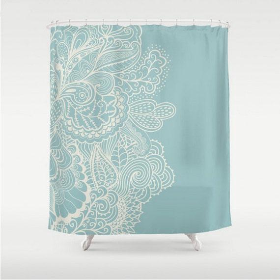 Items Similar To Shower Curtain Light Blue Light Teal Cream Off White Henna M