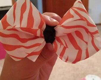 Orange Zebra Hair Bow