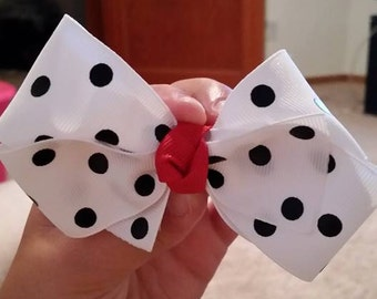 White with Black Polka Dots Hair Bow