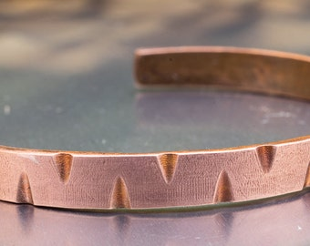 Hand Forged Copper Cuff Bracelet, Hand Filed