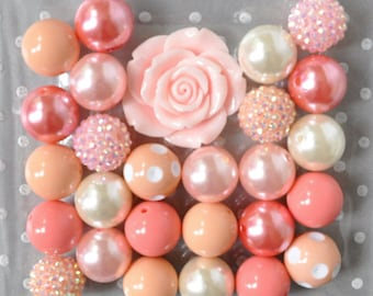 Bubblegum beads, Peachy pink chunky necklace kit, 20mm Peach bubblegum beads, Gumball necklace beads, Light pink resin flower bead