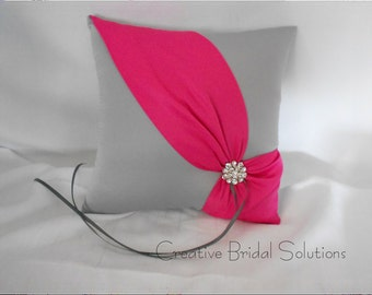 Pewter and Fuchsia Wedding Ring Bearer Pillow- Diagonal, Gray Ring Pillow, Pink Ring Pillow, Fuchsia Ring Pillow, Silver Ring Pillow