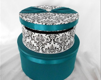 Black and White Madison Damask with Teal Wedding Gift Card Holder Box