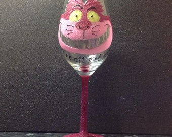Alice In Wonderland, the cheshire cat inspired large white wine glass