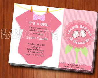 Printable custom invitation for It's a Girl