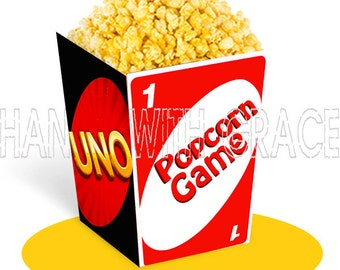 Printable popcorn box UNO game