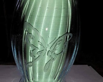 Hand Etched Butterfly Vase