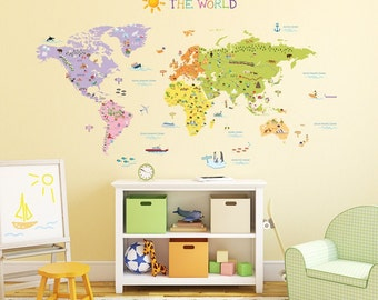 Map wall decal etsy kids world map wall decals stickers great for the bedroom or classroom gumiabroncs Image collections