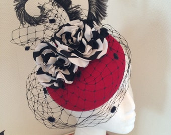 Scarlett red pillbox felt hat with veil and nautical flowers ( black and white) , goodwood revival , ascot, wedding , formal