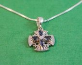 Blue Crystals Jerusalem Cross Sterling Silver / Jerusalem Cross / Silver Cross / Christian Religious / Jewelry Crucifix / Cross Pendant