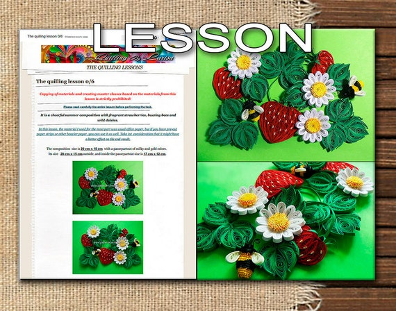 Quilling Lesson Demo PDF Art Tutorial Digital Book - Flowers Leaves Strawberry Bees Chamomiles Tutorial Handmade
