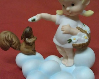 """Almost Angels Porcelain Figurine """" Peace and Love be yours in Abundance """"  The Franklin Mint"""