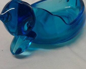 Blue Glass Duck Ashtray