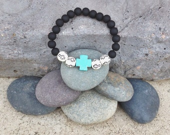 Black and Turquoise Cross Bracelet