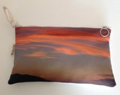 Digital print hand bag   clutch  Clouds  FREE SHIPPING