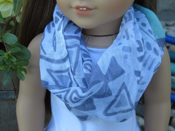 Gray and White Tribal Print Infinity Scarf with Mint Green Spot - American Girl Doll Clothes