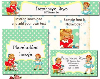 Updated Playtime 5 Piece DIY Shop Banner Avatar and Business Card Graphics Set Instant Download