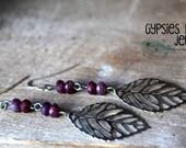 Purple Tourmaline Rondelle Beads & Silver Filigree Leaf Earrings  /  Gypsy Earrings / Boho Earrings