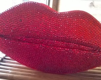 Red Crystal Lips Clutch Bag