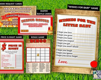 BBQ Baby Shower Party Package Games, Bun in the Oven Printable Games, Diaper Raffle, Book Request, Baby Wishes, Price is Right and Bingo