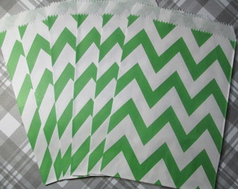 Green Chevron Favor Bags / Treat Bags - 25 count