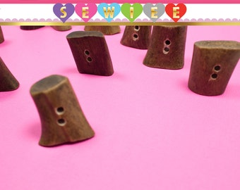 Unique Wooden Tree Stump Shape Buttons Wood Buttons Button - Set of 10 - V100