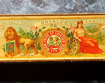 Extremely Rare Antique 1890 P&D Lithographed Corset Box