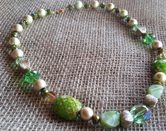 Green and Gold Mix Necklace
