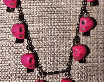 """18"""" Pink Turquoise Skull Necklace"""