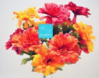 Fall Zinnia Flowers Bush - Orange Red Yellow - Artificial Silk Flower - Thanksgiving Home Decor