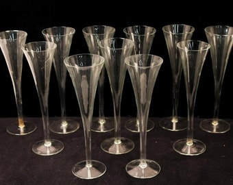 """Vintage Champagne Flutes Fun & Unusual Set of 11 Glasses 10"""" Tall Clear Glass Dining Set"""