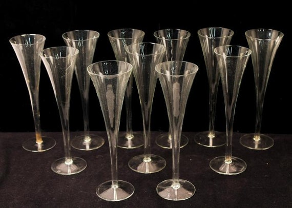 Vintage champagne flutes fun unusual set of 11 glasses - Unusual champagne flutes ...