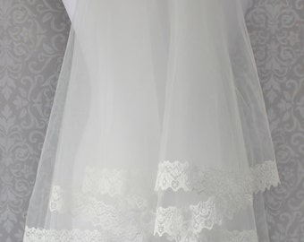 Veil-Ivory lace wedding veil with blush