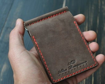 Leather card holder. From natural leather. Uniseks