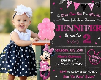 Minnie Mouse Invitation, Minnie Mouse Birthday, Minnie Mouse Party
