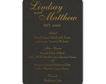 Personalized Wedding Menu Cards