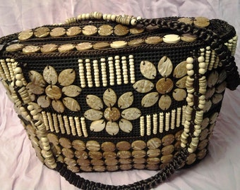 Vintage coconut shell nature woven tote bag