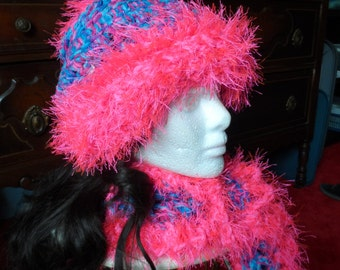 Hot Pink and Blue Crochet Beanie Hat and Scarf Set