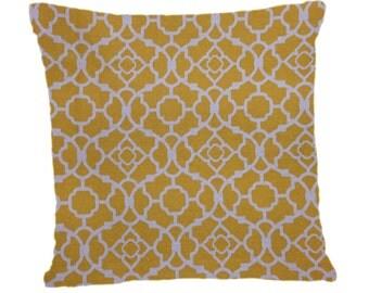 Decorative Pillow Cover Throw Pillow Mustard Yellow Lattice