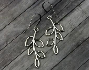 Silver Leaf Earrings - Leaf Earrings - Dangle Earrings - Earrings - Mothers Day - Gifts For Her - Bridesmaid Gift - Leaf - Womens Jewelry
