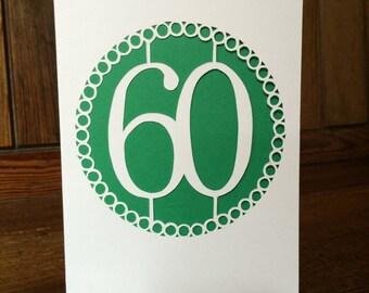 Handmade 60th Papercut Card